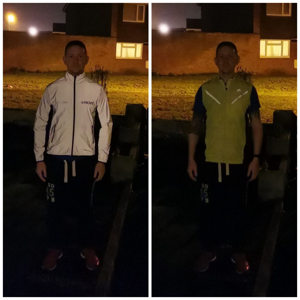 No light - Left: Proviz 360 Running Jacket, Right: Adidas Running Gilet